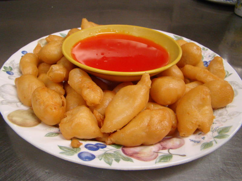 ... versions use less batter than others), with a sweet and sour sauce